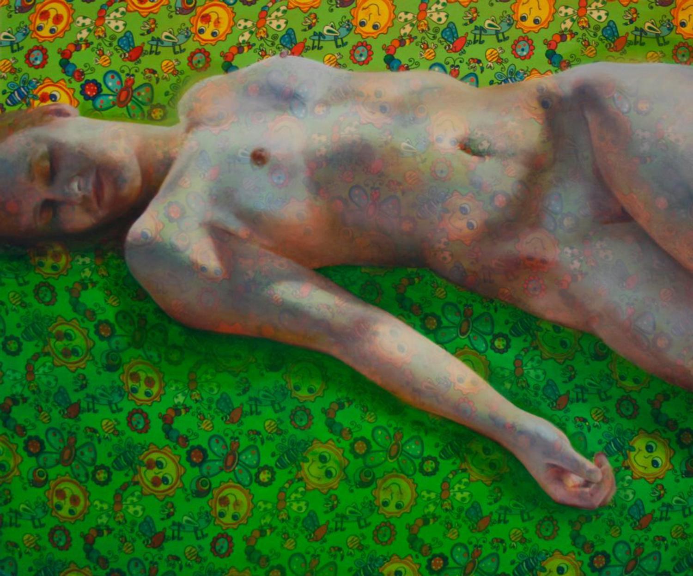 """Bruised II   Oil on fabric  42""""x38""""  2013"""