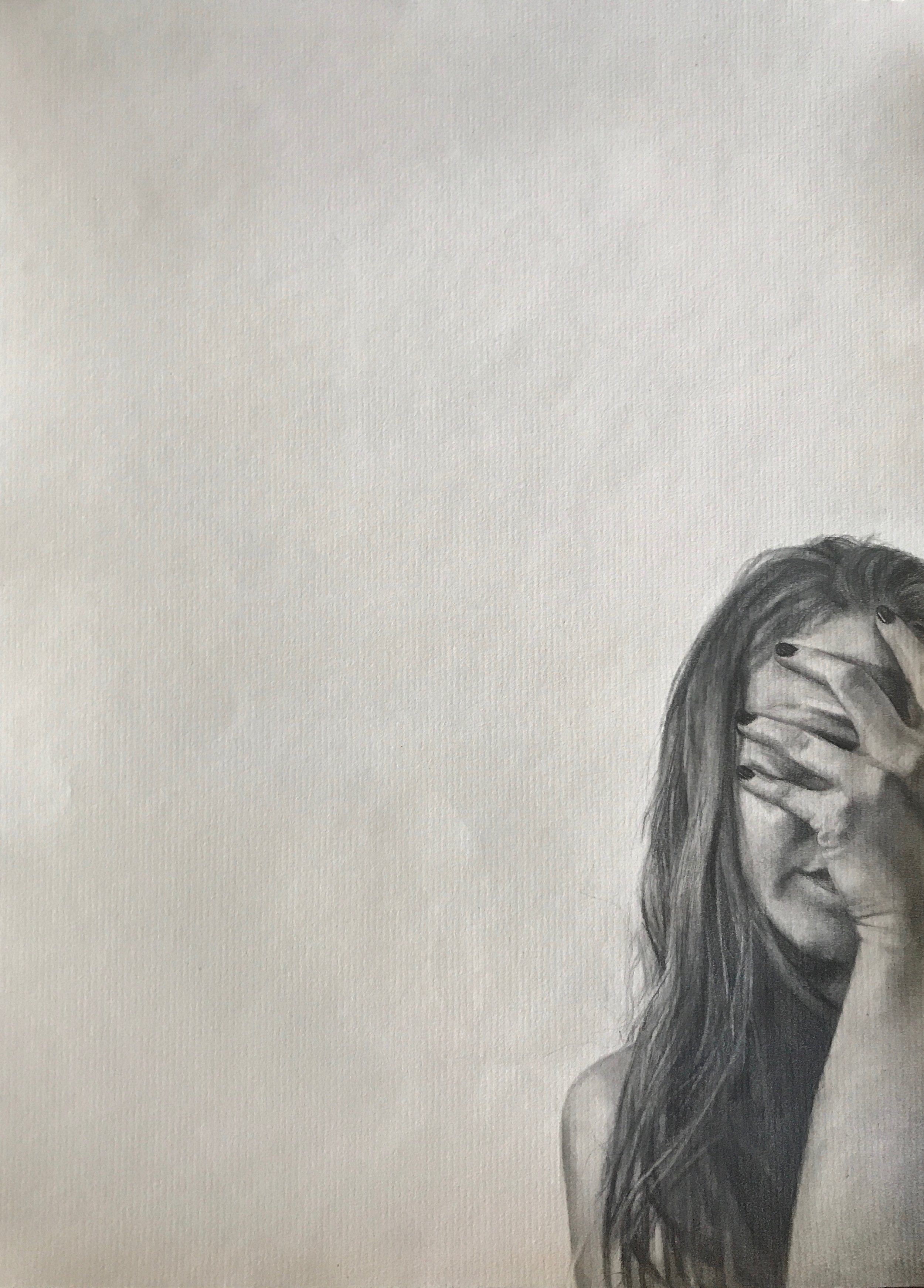 """Never Show Faces   Graphite on paper  9""""x12""""  2018"""
