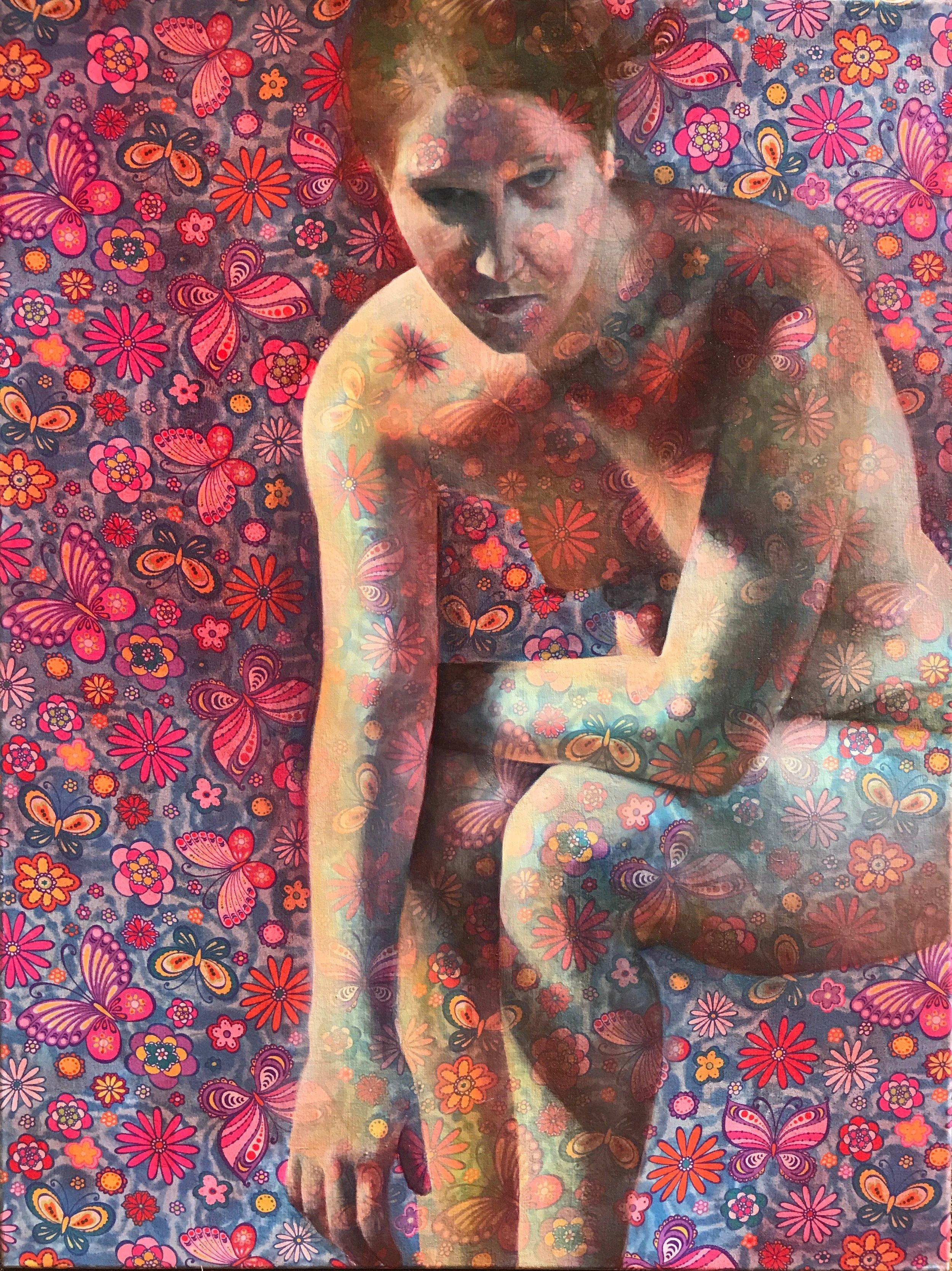 """Bruised I   Oil on fabric  48""""x36""""  2013"""