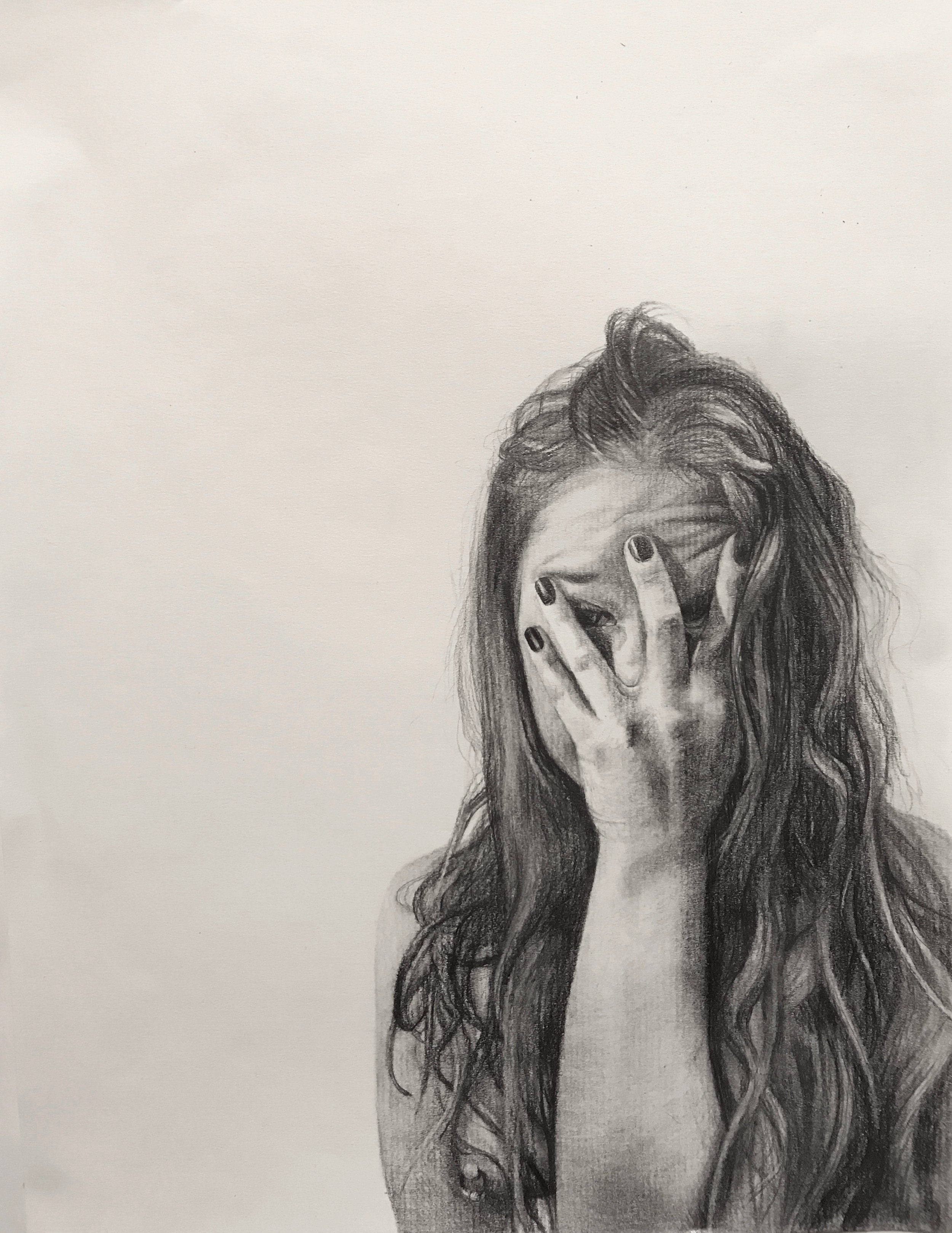 """Never Show Faces II   Graphite on paper   9""""x12""""  2018"""