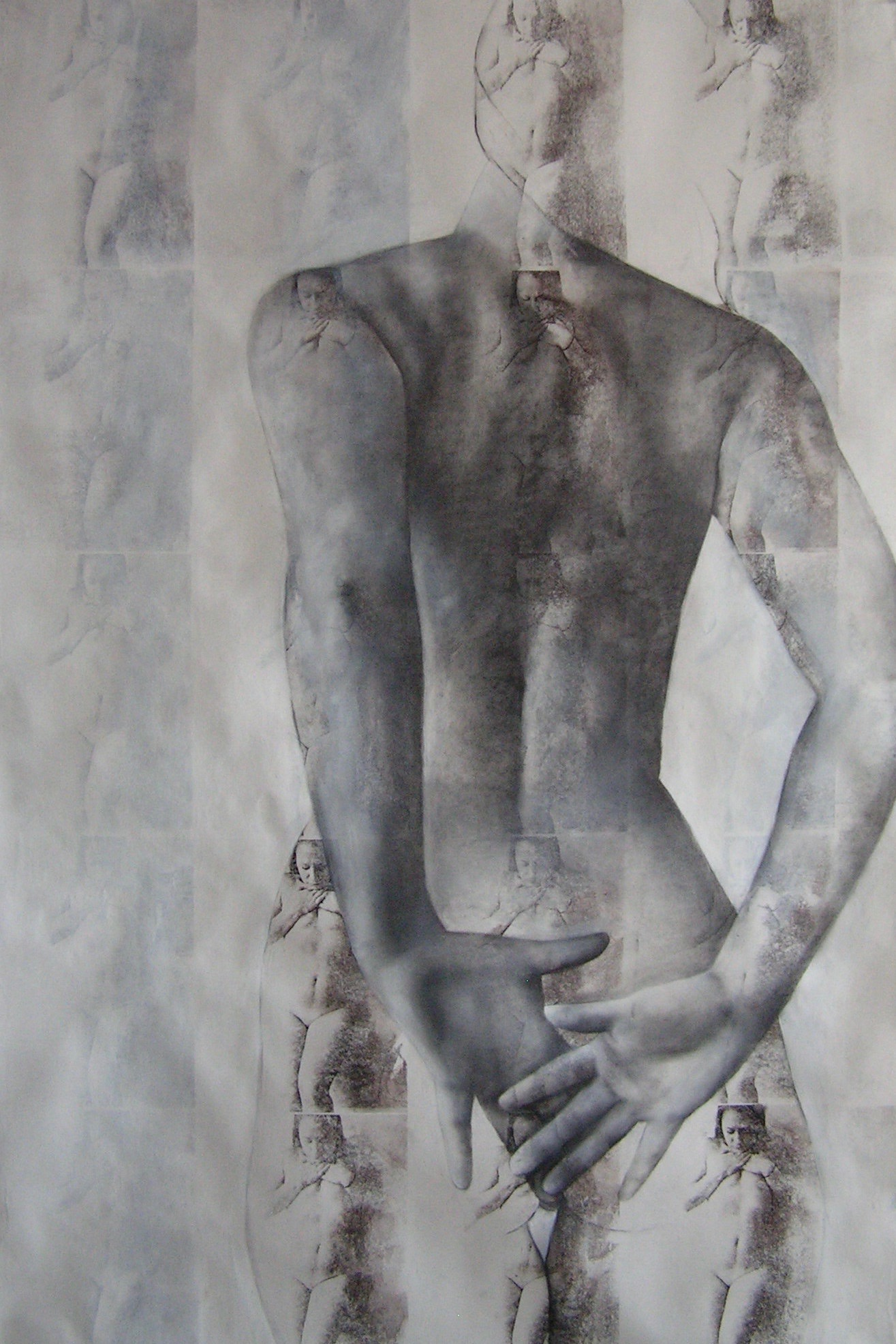"""Repentant   Charcoal, acrylic, on acetone transfers  70""""x50""""  2014"""