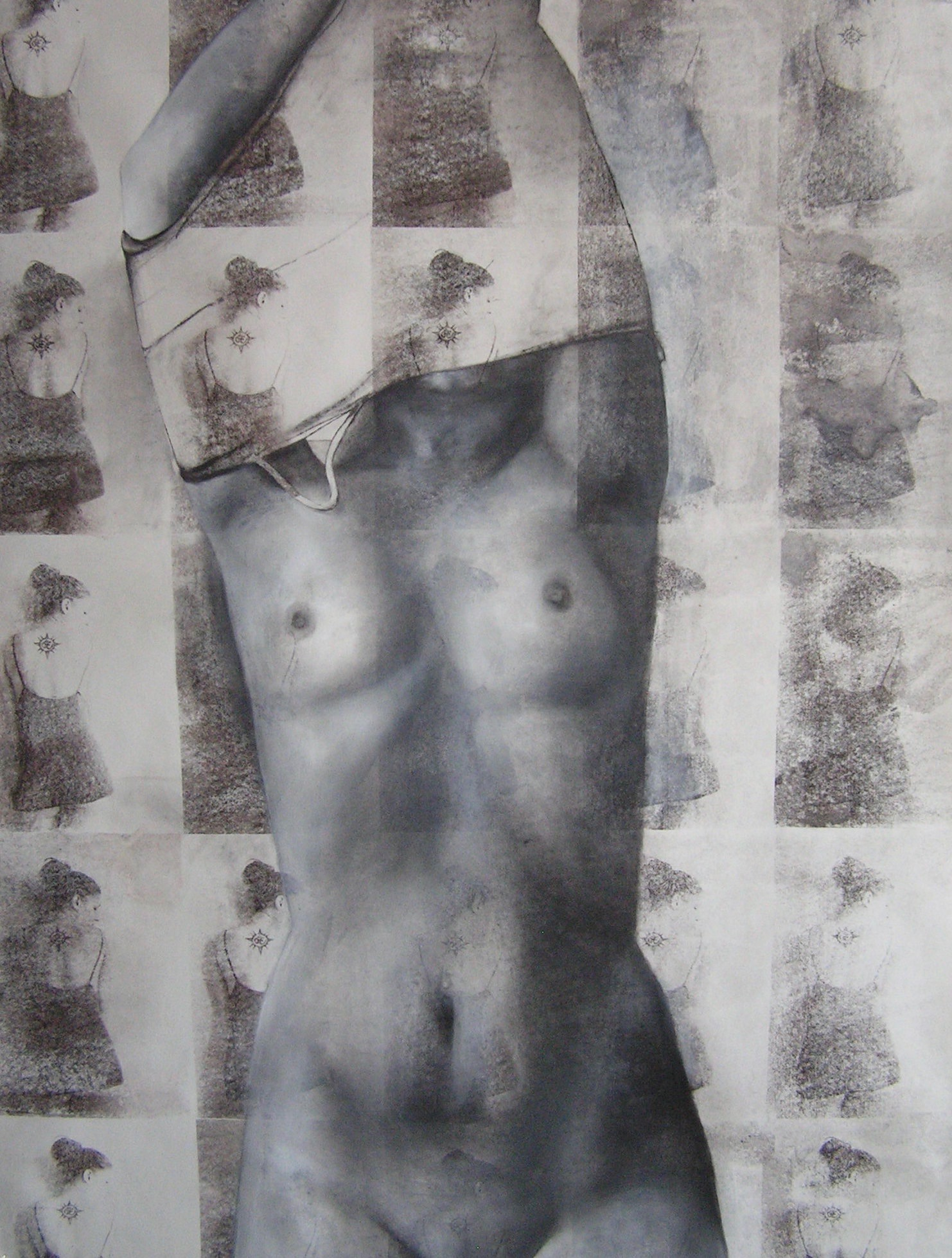 "Beheaded   Charcoal, acrylic, on acetone transfers  58""x42""  2014"