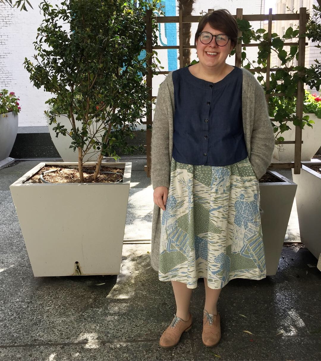 May 1: Seamwork Jenna Skirt in natural dyed Batik from Indonesia that I got at A Verb for Keeping Warm (I made it in 2018 for my wedding brunch), with a Maya Top and my No Frills Cardigan.