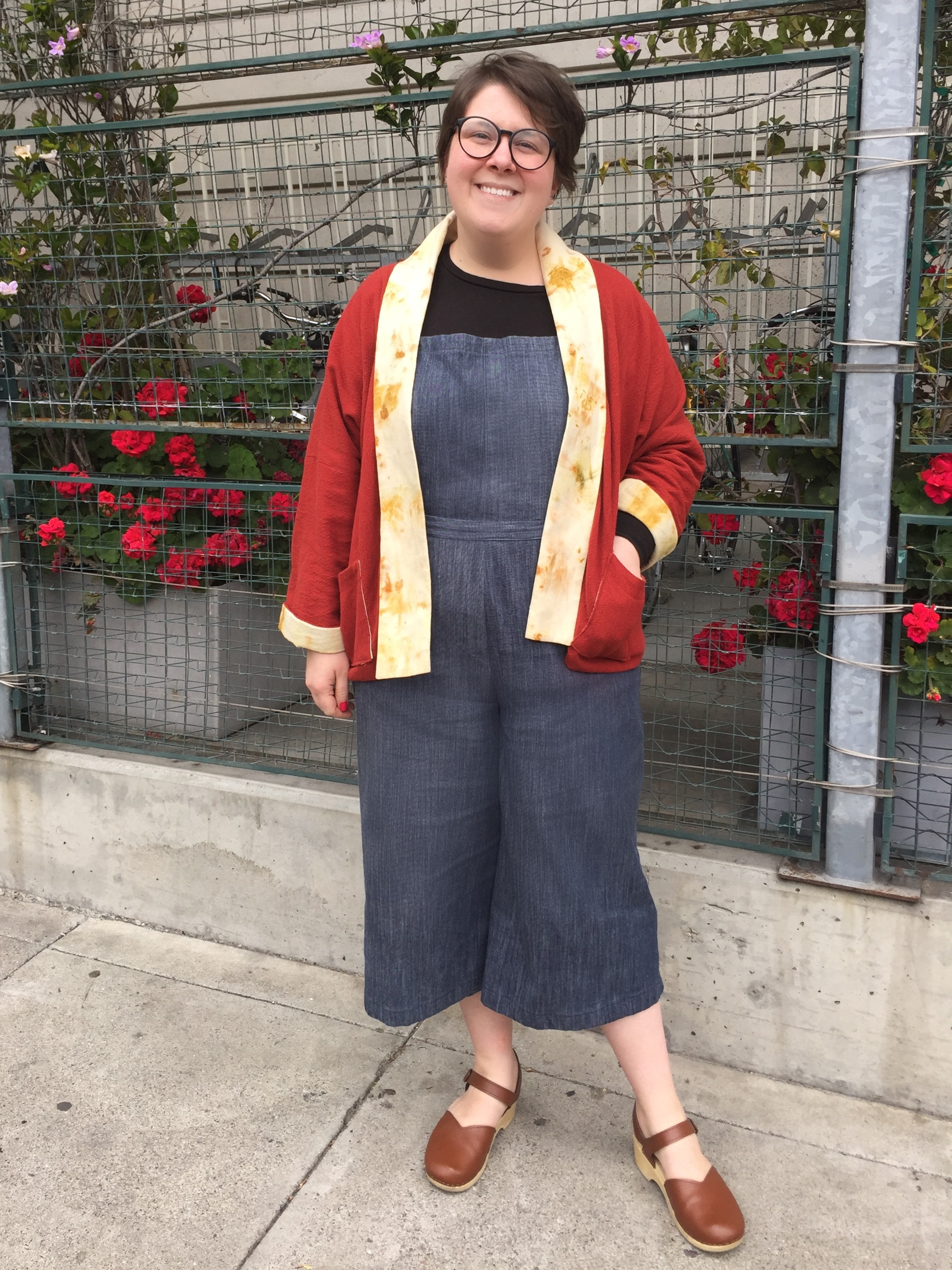 May 6: Jenny Overalls, Wiksten Haori with Eco-Printed silk lining
