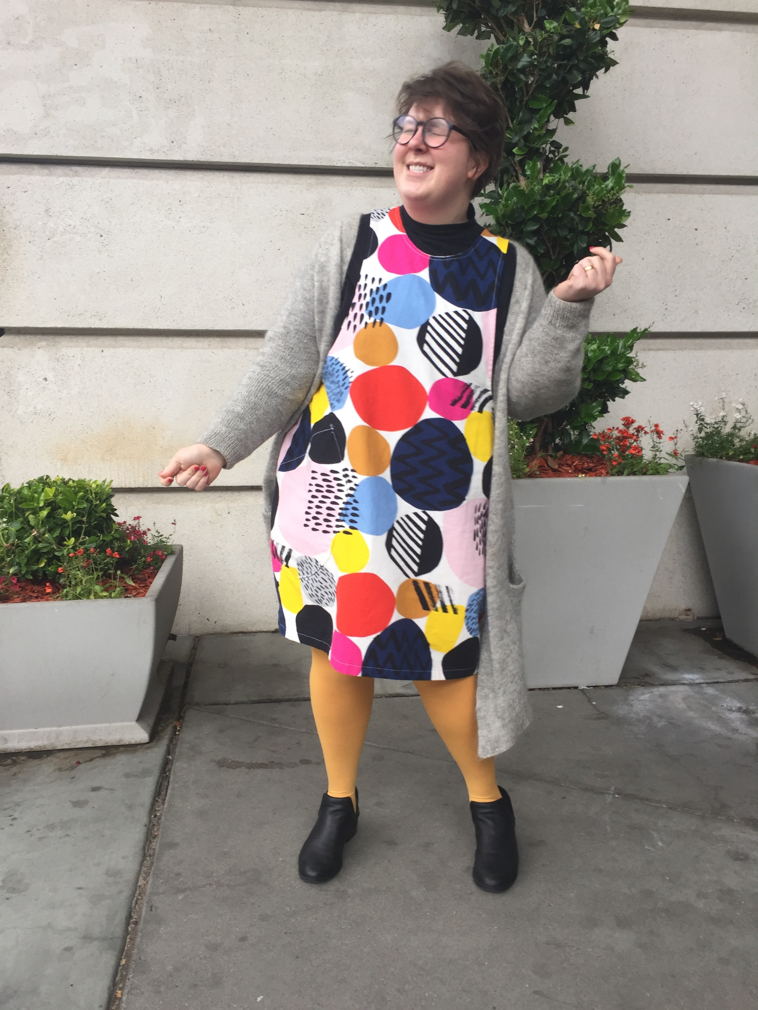 May 15: York Pinafore in Ikea fabric & No Frills Cardigan
