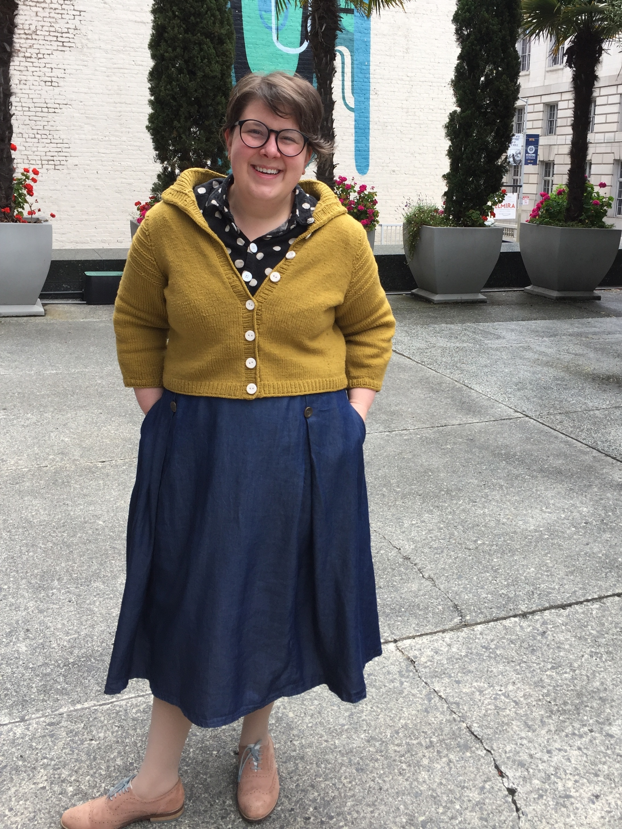 May 20: 1950s PB&J Skirt in Denim tencel, Isca skirt in Japanese Linen/Cotton, Christabel Cardigan in Stone Wool Cormo