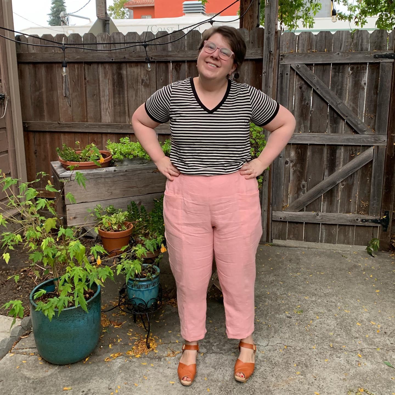 Looking happy in my new Pietra Pants.