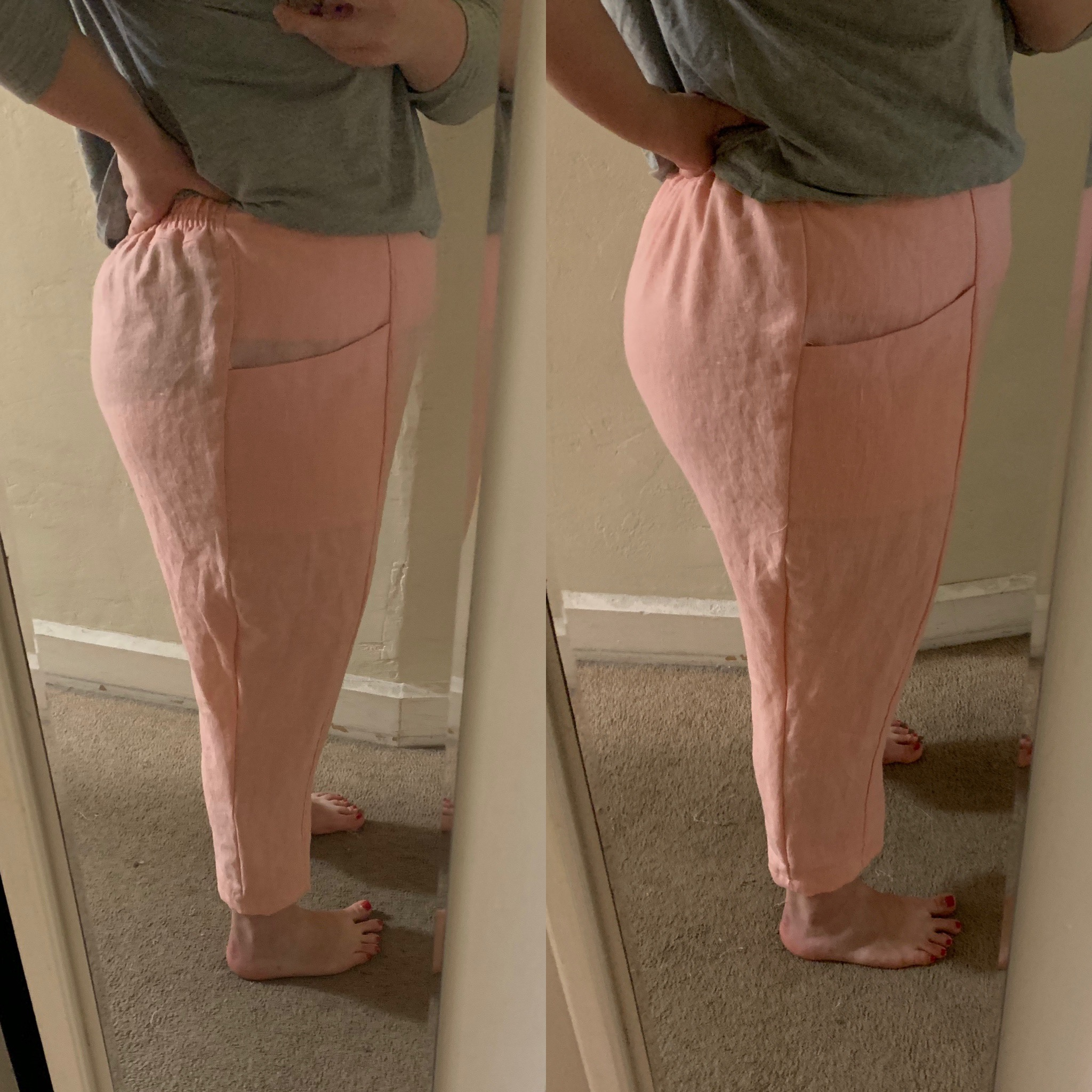 Version 2; Version 1 (note to self, no black underwear with these pants!) Also, let's smooth out the curve at the knee.