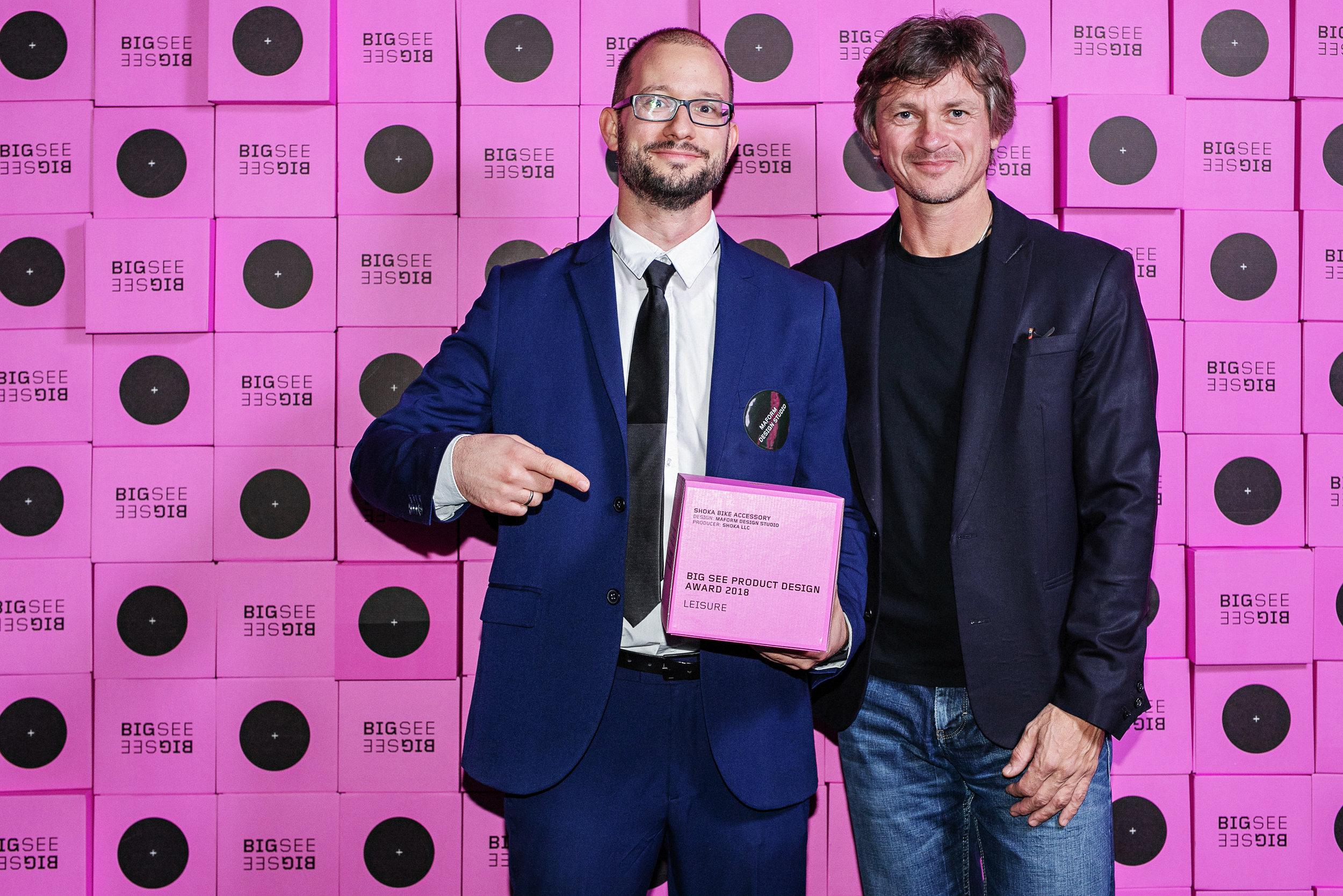 Award photo with BIG SEE lead curator Zmago Novak and maform CEO Peter Molnar – Photo credit: Miloš Horvat