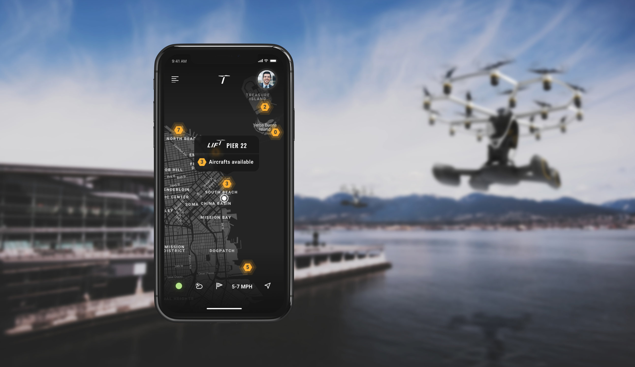 Lift Application UI with Hexa drone in the backround, both designed by maform