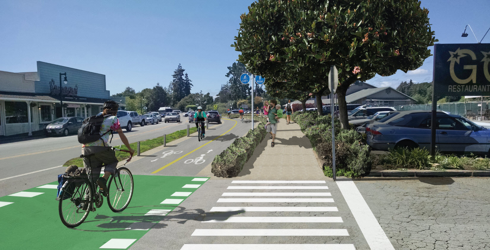 A bi-directional bike path and pedestrian walkway in Aptos Village