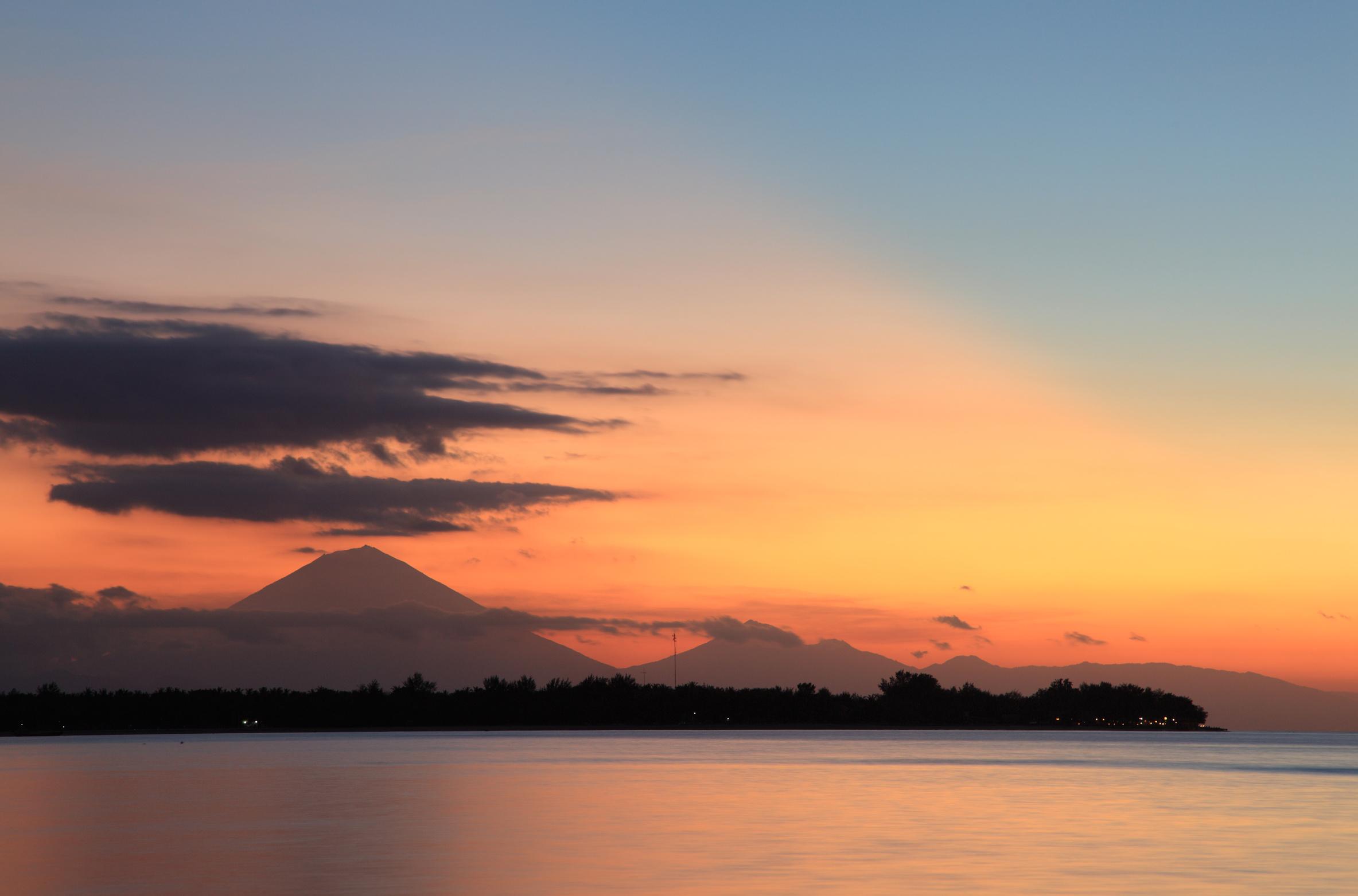 Sunset behind Bali, Gili Air