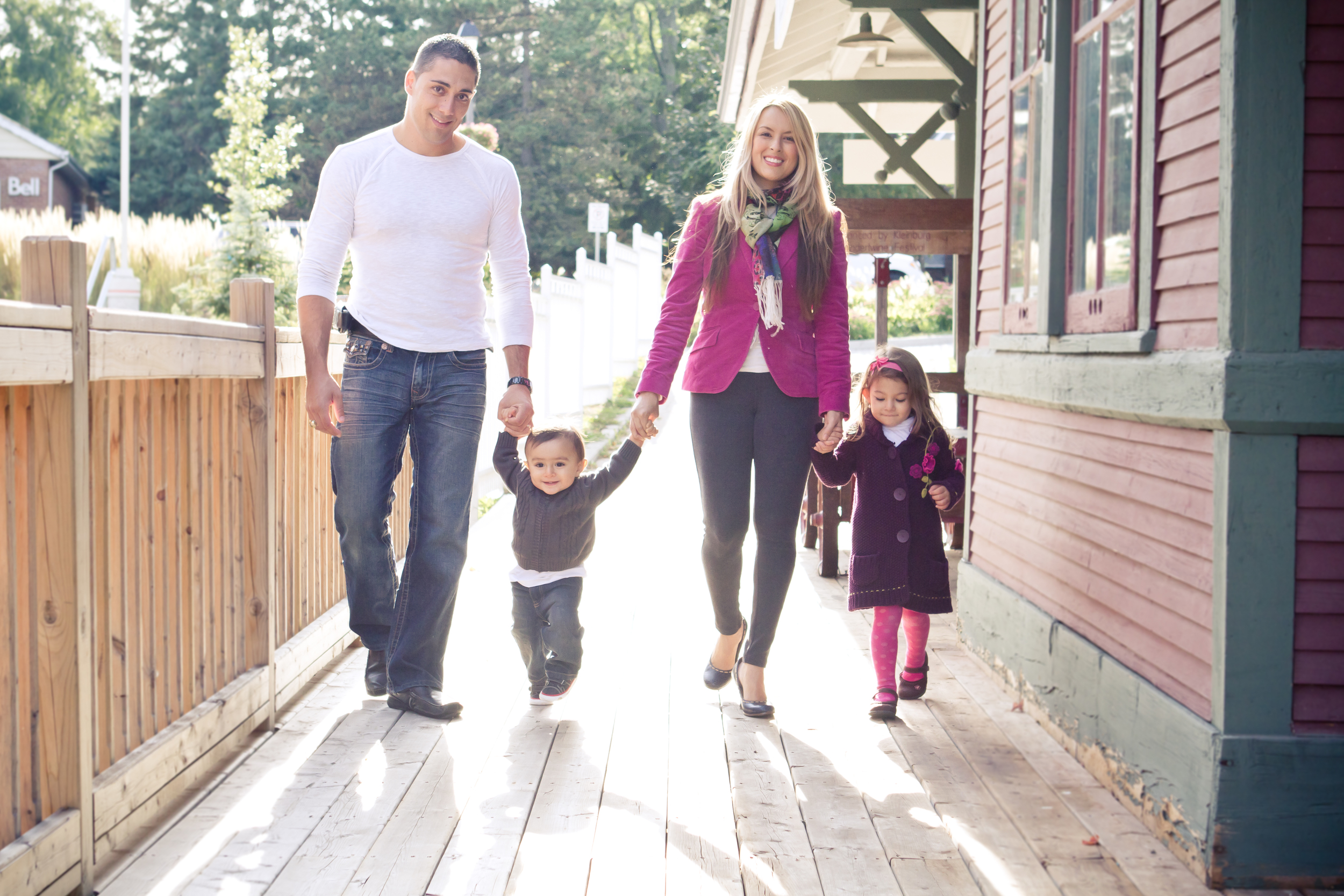 Family portraits on Main Street in Kleinburg