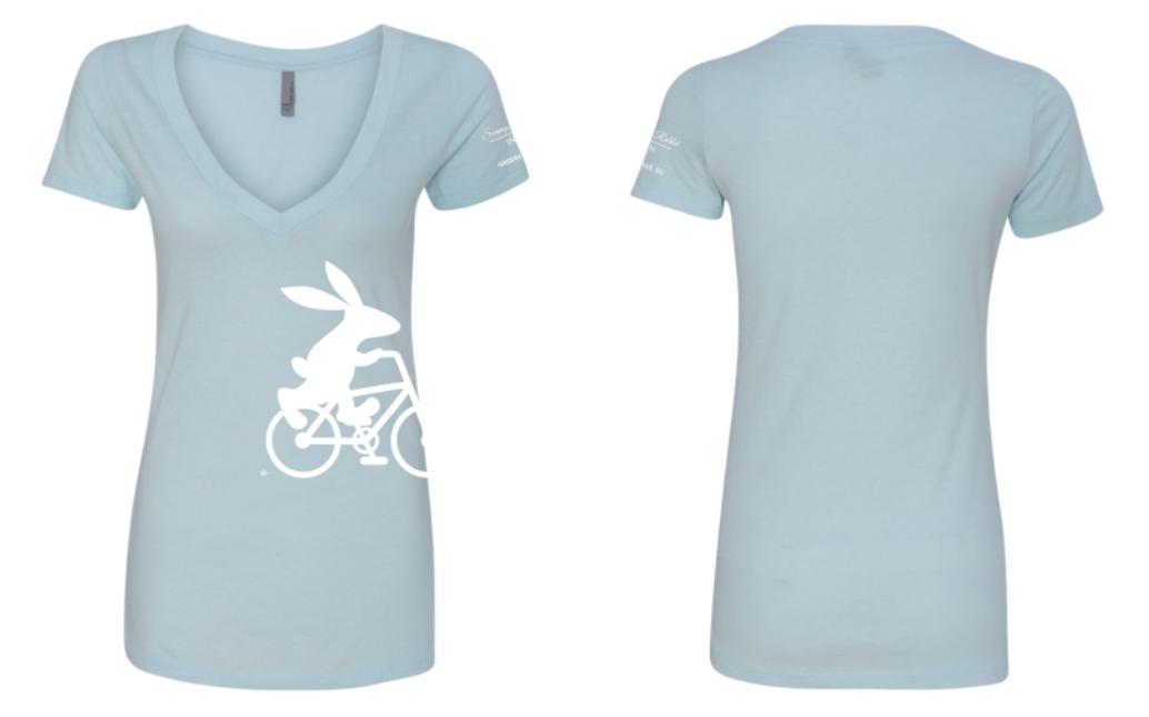 Swamp Rabbit Inn Women's Light Blue V Neck T Shirt