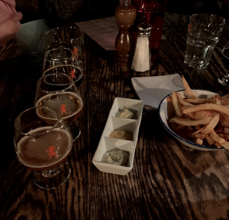 Beer flight and Belgian fries and signature dips at Trappe Door, Greenville South Carolina