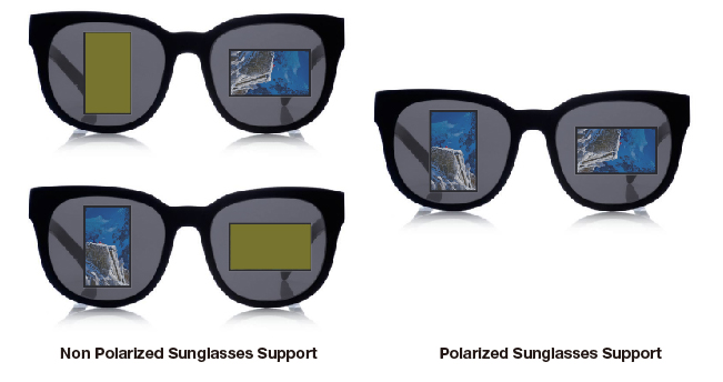 Visible with Polarized Sunglasses - Sunglass friendly