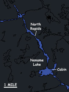 NONAME LAKE   Primary Species:Walleye and Pike Area:1100 Acres Portage Lake Area:600 Acres Guest Capacity:8