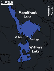 MANNIFRANK LAKE    Primary Species:Walleye and Pike   Area:1700 Acres   Portage Lake Area: 800 Acres   Guest Capacity:8