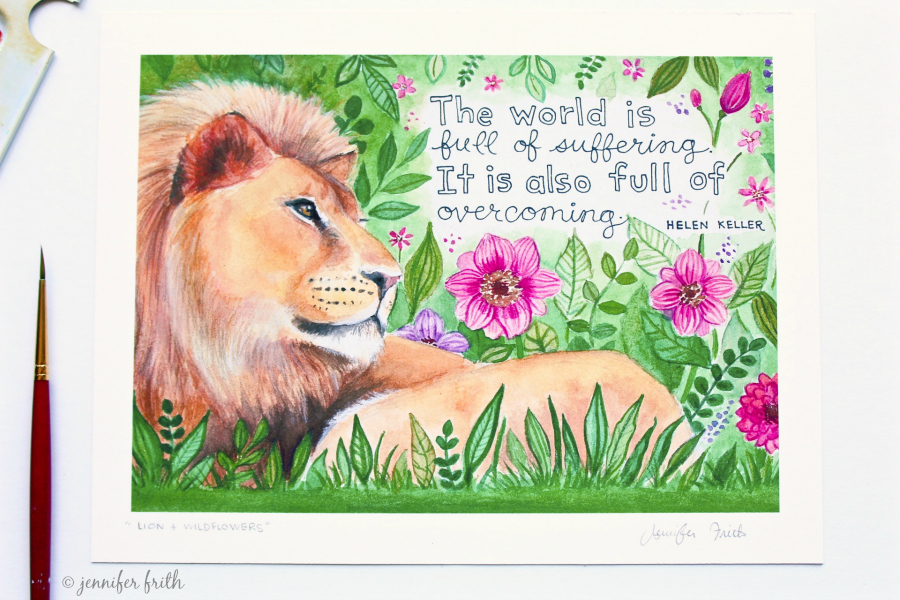 Watercolor Etsy Print by Jennifer Frith - Courage