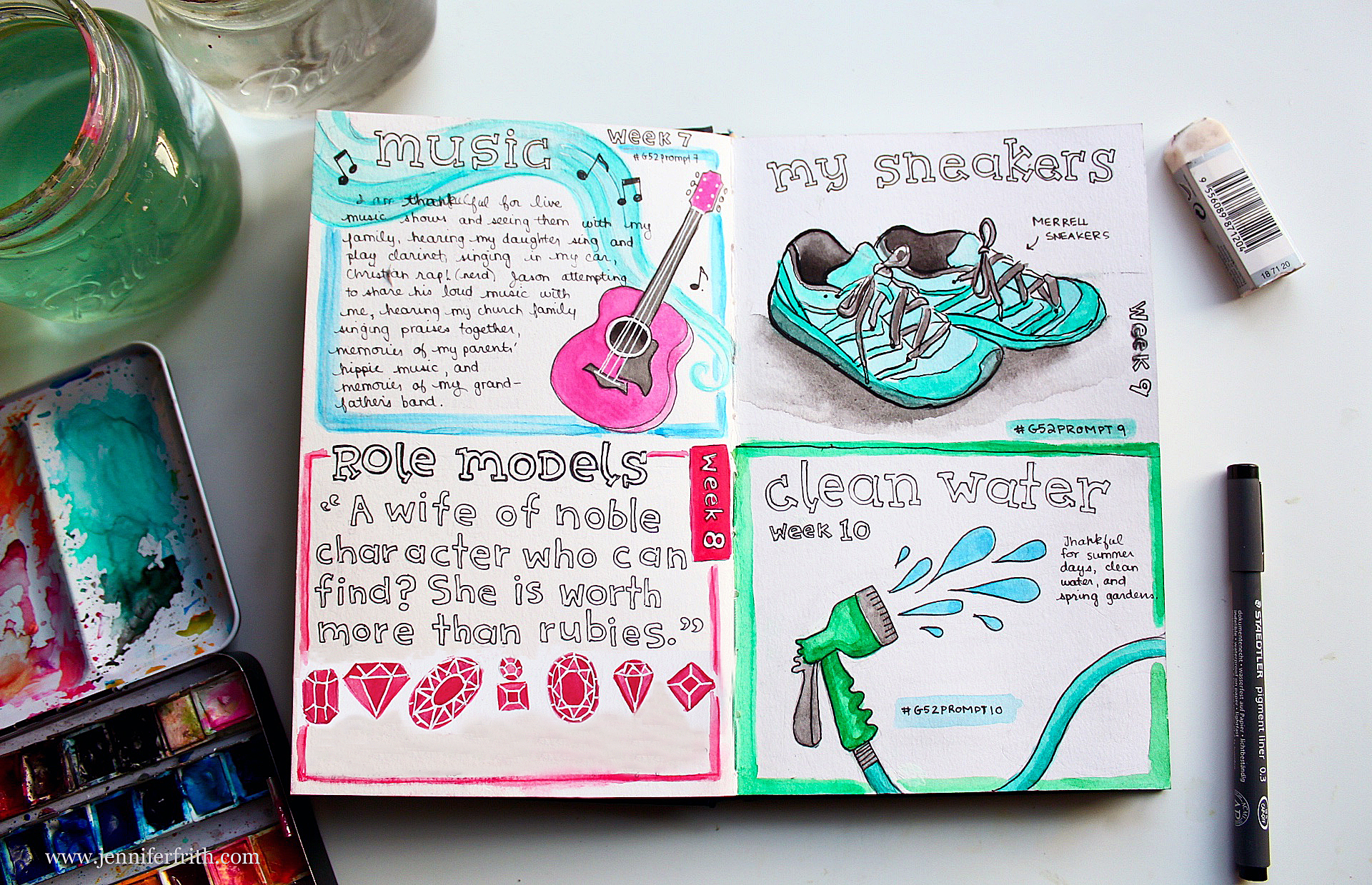 a few of my own pages from the Gratitude 52 Journaling project