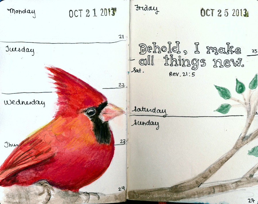 Older journal pages in watercolor. Cardinals are symbols of loved ones who have passed.