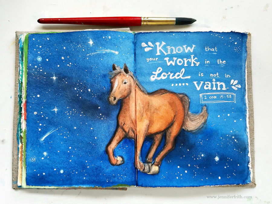 Sunday Sketchbook... Starry Skies in watercolor, by Jennifer Frith