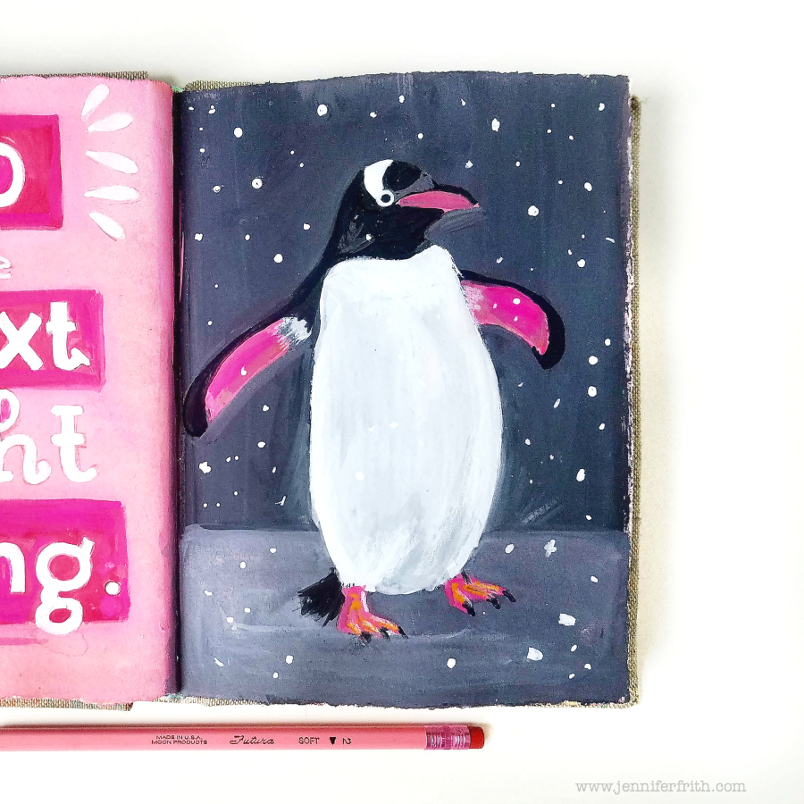 Jennifer Frith's Sunday Sketchbook - Petey the Penguin in Gouache