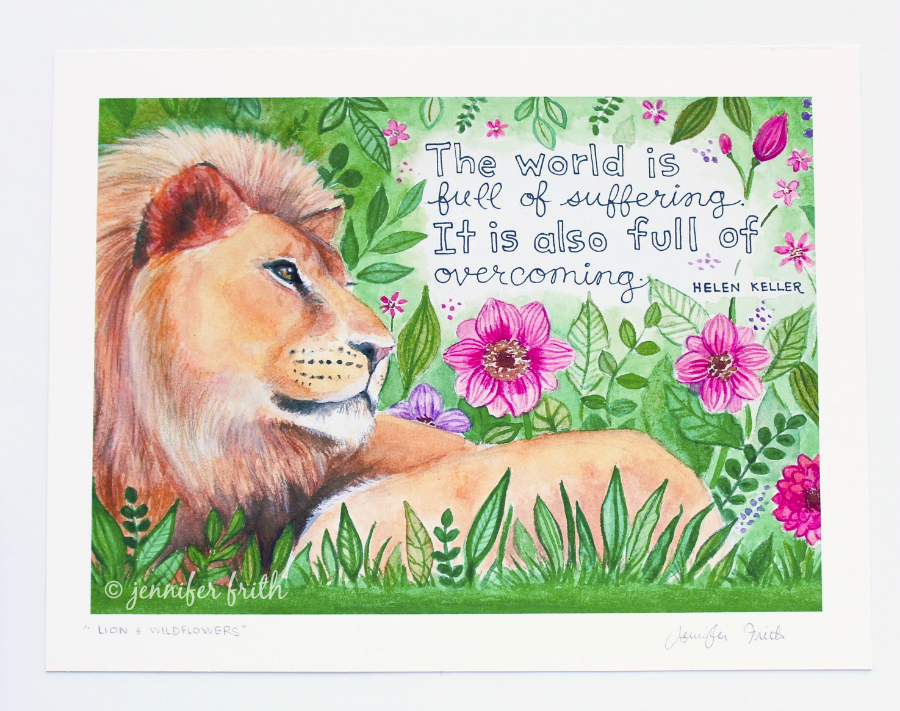 Jennifer Frith - lion art print Helen Keller quote