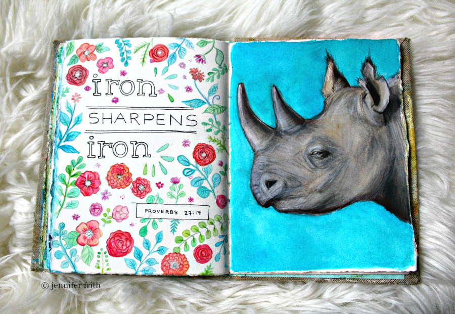 Sunday Sketchbook and a Rhinoceros Illustration by Jennifer Frith