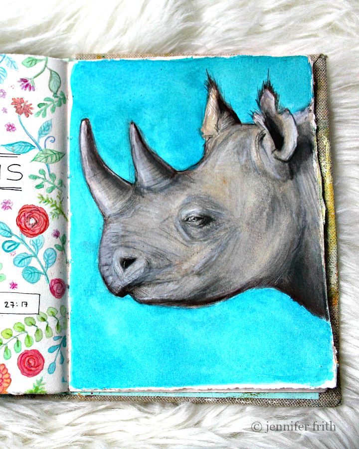 Sunday Sketchbook and a Rhinoceros Illustration by Jennifer Frith