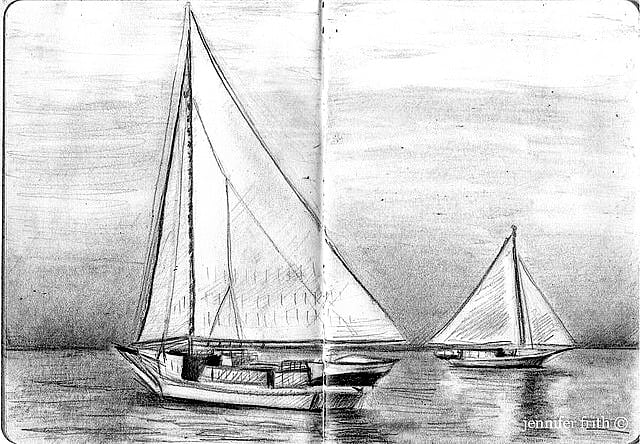 sailboat pencil drawing in one of my sketchbooks
