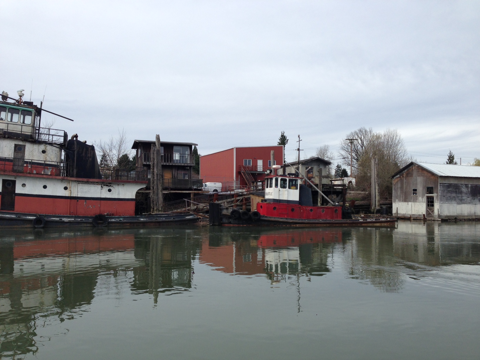 Working and retired vessels along the slough.