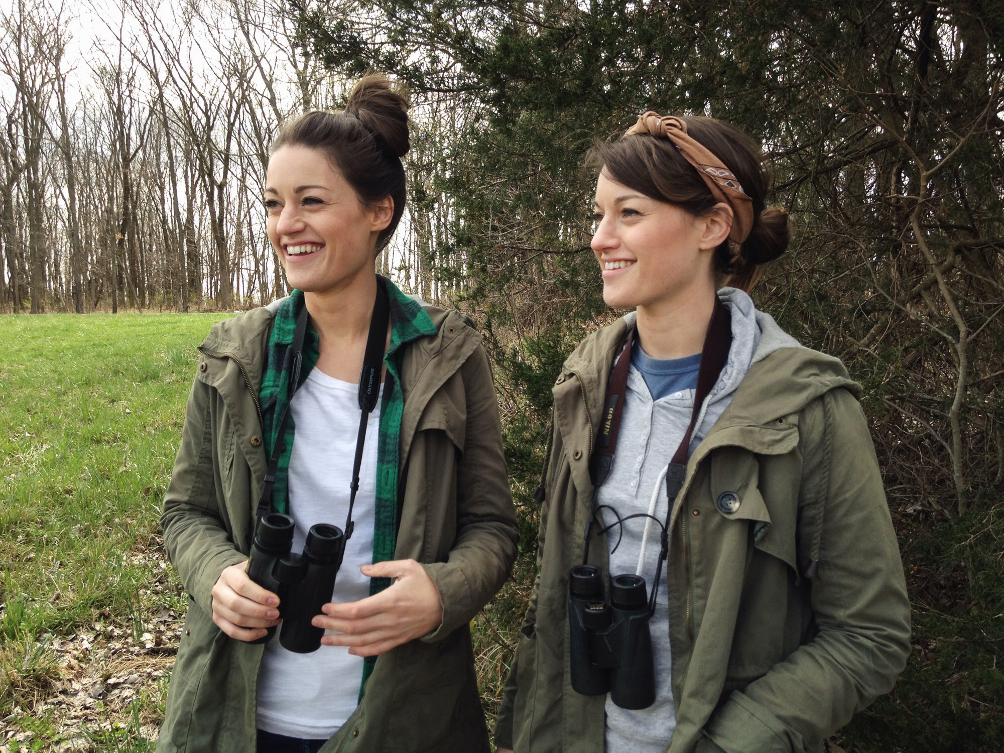 Artists Alex (L) and Shae Warnick birding in Indiana. They happen also to be twins.