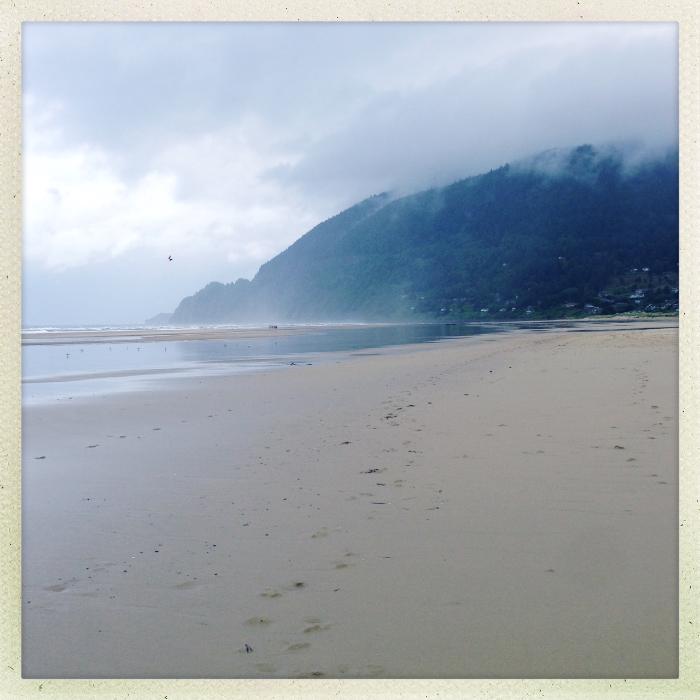 The beach at Manzanita, and cliffs to the north.