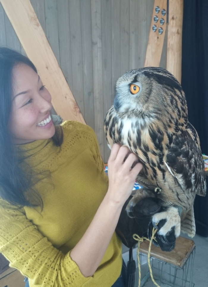 Jane and an Eurasion Owl.