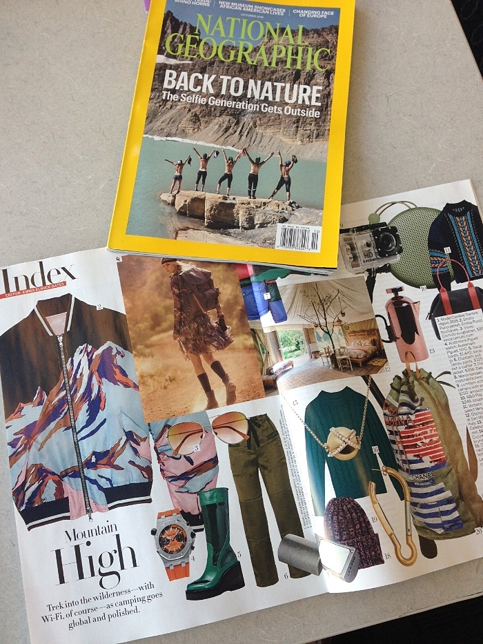 October 2016 issues of National Geographic Magazine (top) and American Vogue.