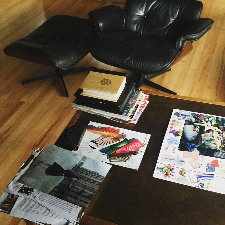 My super casual work table, AKA living room coffee table. The chair in the background is a knock off, by the way.