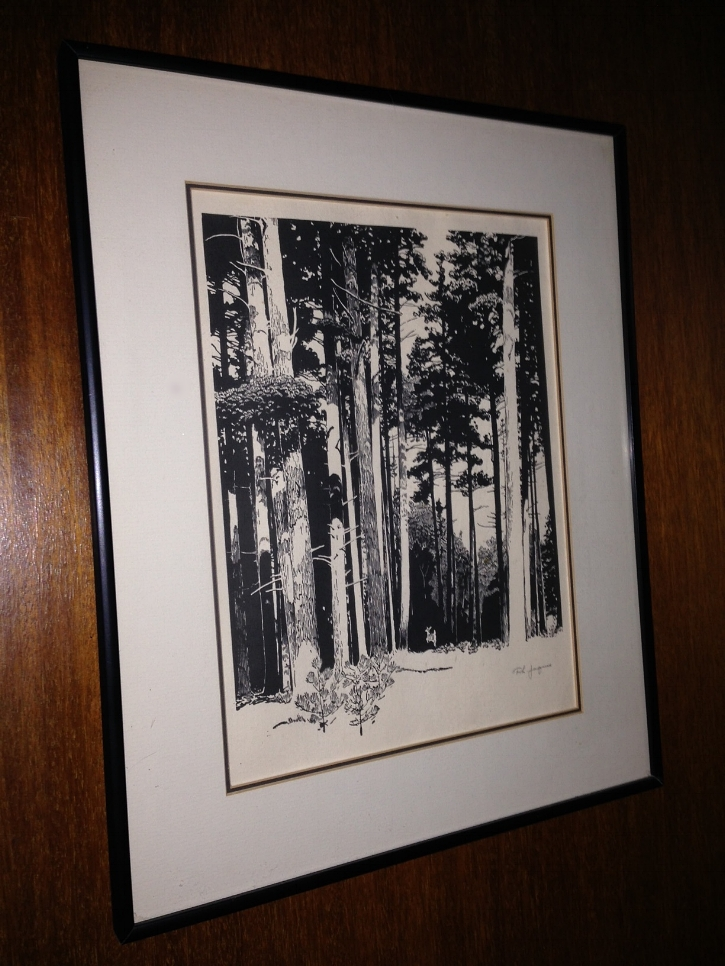 A Francis Lee Jacques print of a deer bounding into the woods, somewhere in the northern Minnesota. Jacques was a mentor to my dad, and is known for his scratch boards and oils in this very illustrative and stylized presentation. He got his start as a diorama painter and later did magazine covers and stamps in the 1950s, all while maintaining a fine art career. I am in love with his work.  This scene looks exactly like the woods near Watmaugh Bay, Lopez Island.