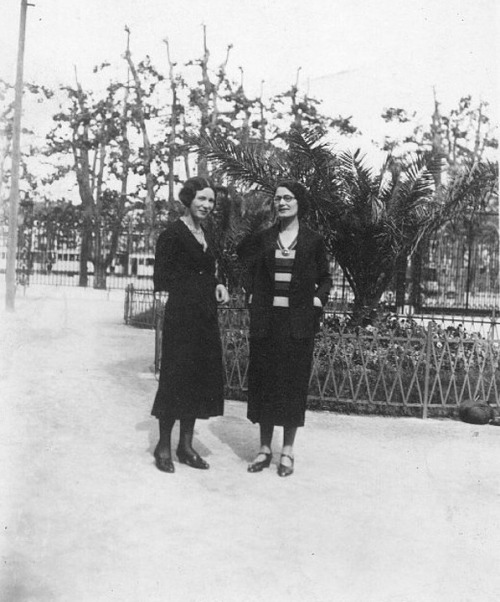 The writer Simone de Beauvoir (left) during her time as a philosophy teacher in Marseilles, early 1930s. Image:Éditions Gallimard Archive.
