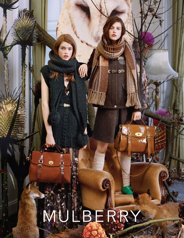 Mulberry F/W 2011. Barn Owl behind them. Image: Tim Walker