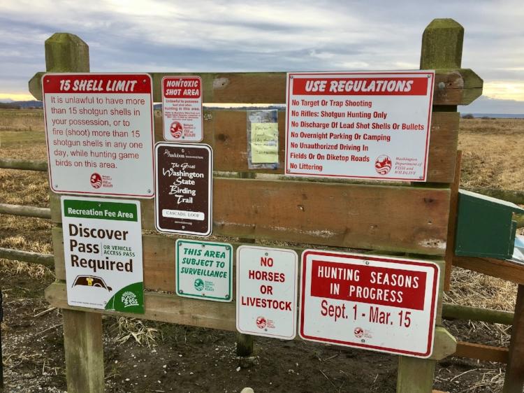 Signage at West 90. Birding season here usually overlaps with hunting season. Image: Gaby Charlton.