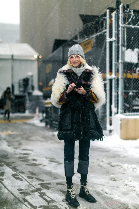 New York Fashion Week. While the shoes don't look very warm, I love the rest of this outfit. Image: Diego Zuko.