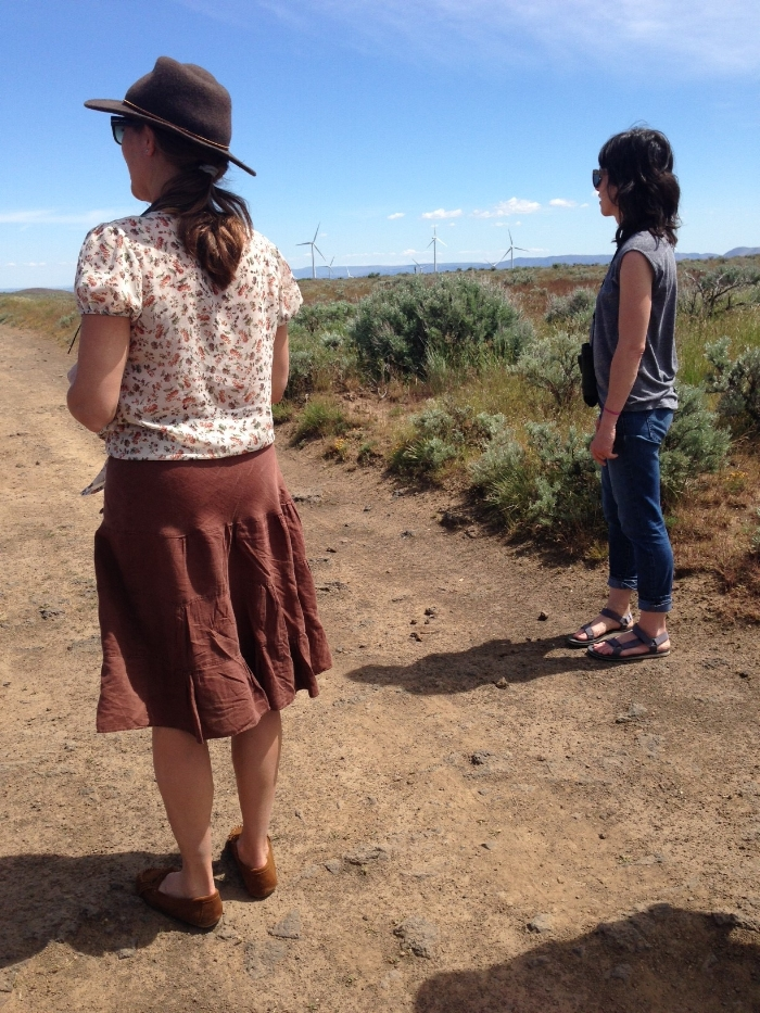 Katie and Cambria at Quilomene, watching two locals shedding in the distance.