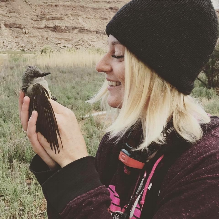 Clare and a Western Kingbird, Red Butte Canyon, Utah.