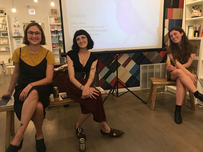 Inaugural weekend of the Chicago Feminist Bird Club. L to R Feminist Bird Club founder Molly Adams, Chicago chapter founders Bridget Kiernan and Frances Kane, May 2018. Courtesy of Bridget Kiernan and Frances Kane.