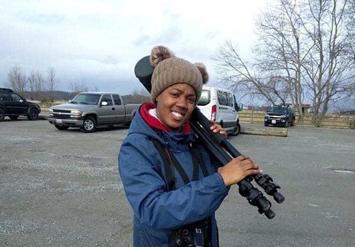 Tiffany Adams at the West 90 Samish Island birding area, Bow, WA. Courtesy of Tiffany Adams.
