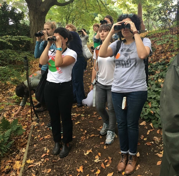 Karla Noboa (left, with blue wrist watch) leading a bird walk in Boston. Courtesy of Karla Noboa.