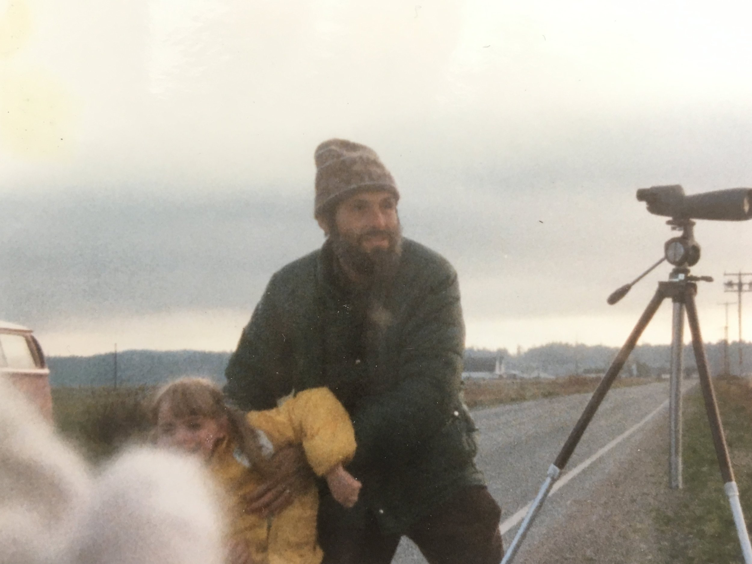 Early days of birding tailgating on the Samish Flats, Skagit Valley, WA, 1980. That's Gordon Orians, AKA Gornut goofing around with me (I can tell it's me by that pronounced cowlick).
