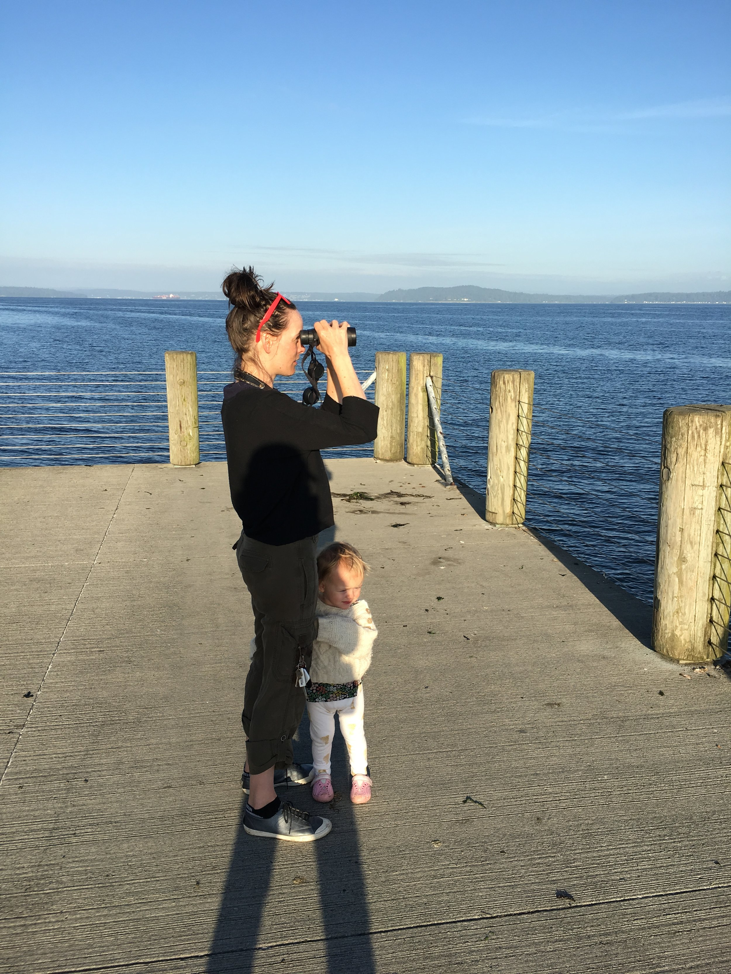 Birding on Alki Point in West Seattle, WA, June 2019. My daughter has been a game companion until recently. Possibly a repeat of my own experience? See below!