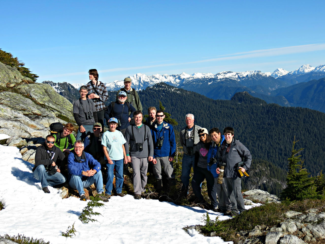 Hafting third from left of the birding group on Mount Seymour, Metro Vancouver, 2015.